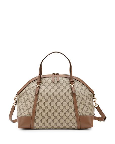 Nice GG Supreme Canvas Top-Handle Bag, Brown