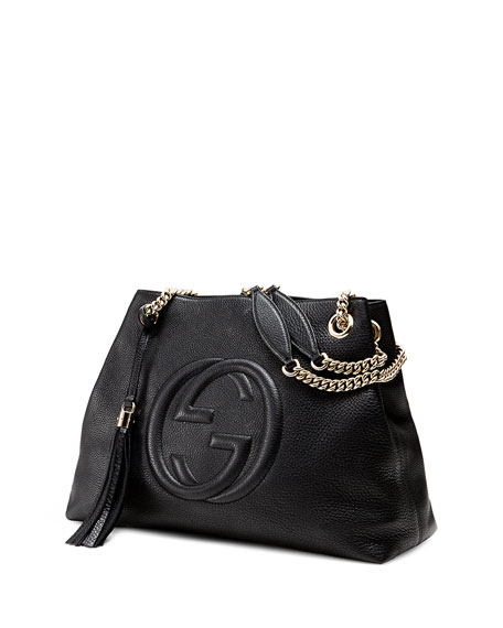Soho Leather Chain-Strap Tote, Black