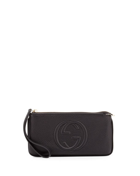 Soho Leather Wrist Wallet, Black