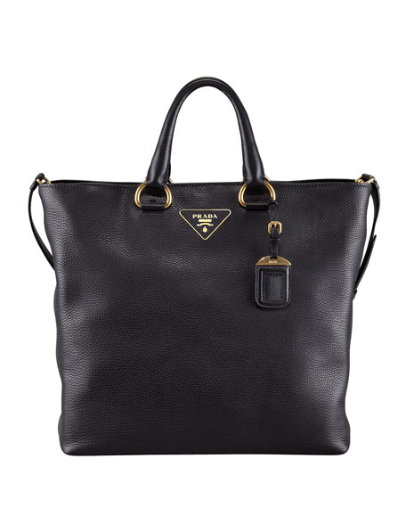 Daino Pebbled Leather Tote Bag, Nero