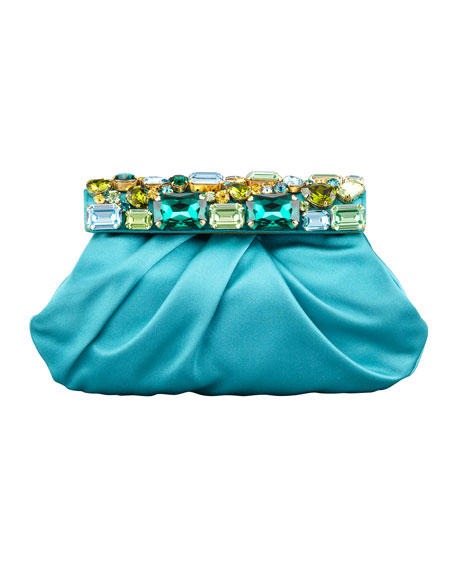 Raso Jeweled Satin Clutch Bag, Turquoise (Pavonne)