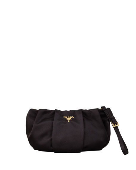 prada green nylon bag - Prada Satin Wristlet Bag, Black (Nero)