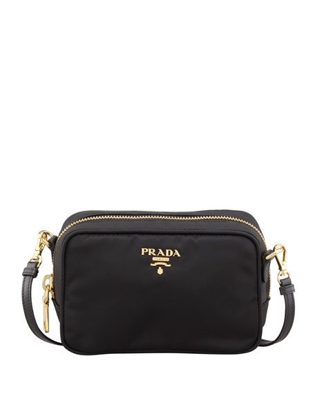 Prada Tessuto Small Crossbody Bag, Black (Nero)