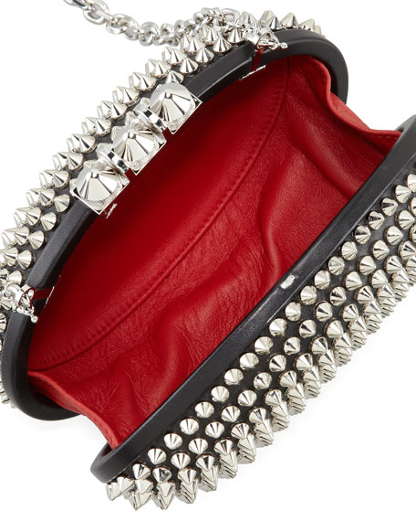 Spiked Clutch Bag, Black/Silver