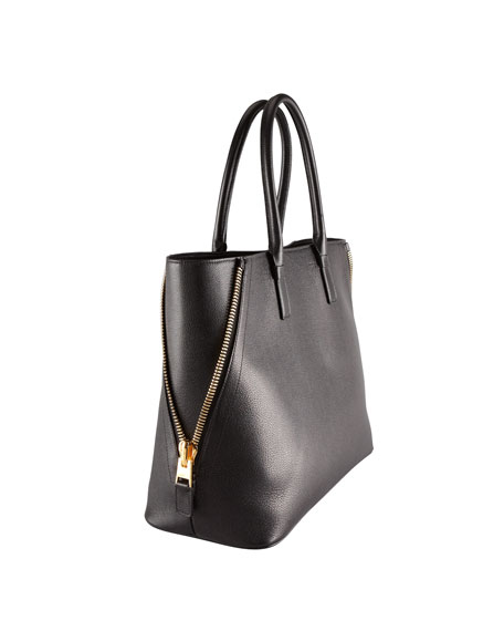 Jennifer Large Trap Calfskin Tote Bag, Black