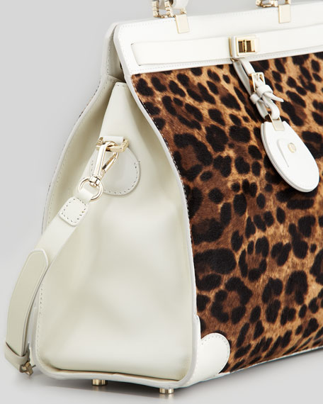 Jourdan Leopard-Print Tote Bag, Brown/White