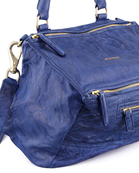 Pandora Medium Lamb Satchel Bag, Royal
