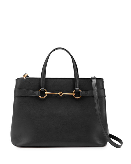 Bright Bit Leather Tote Bag, Black