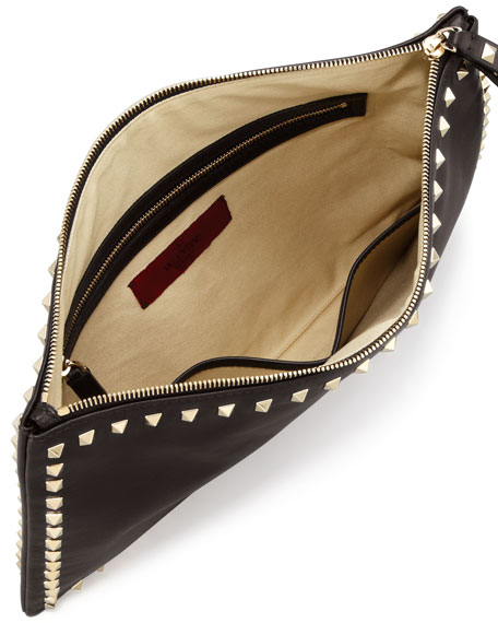 Rockstud Leather Clutch Bag, Black