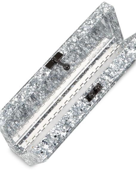 Flavia Confetti Acrylic Clutch Bag, Silver