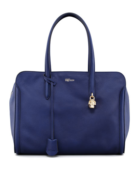 New Skull Padlock Zip-Around Tote Bag, Royal Blue