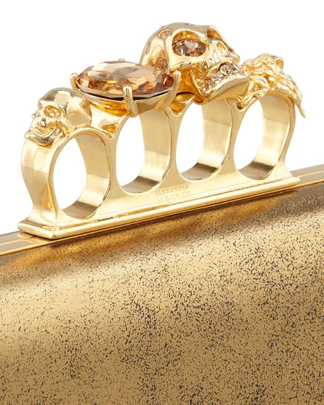Metallic Long Knuckle Box Clutch Bag, Gold