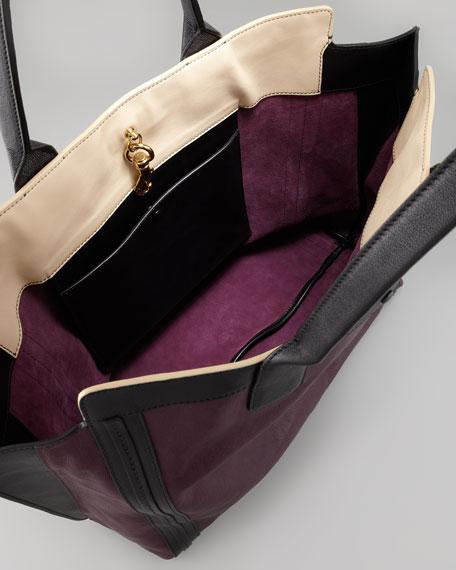 Alison East-West Colorblock Tote Bag, Purple