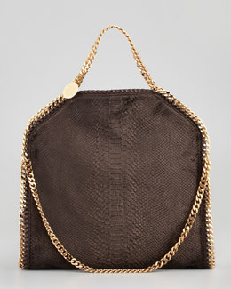 Stella McCartney Falabella Snake-Embossed Fold-Over Bag, Bronze