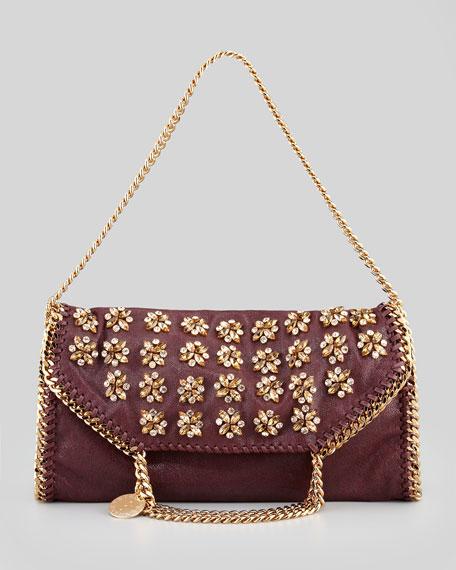 Falabella Small Embroidered Fold-Over Tote Bag, Plum
