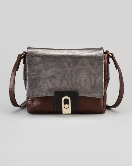 For Me Lizard-Embossed Crossbody Bag, Gray/Brown