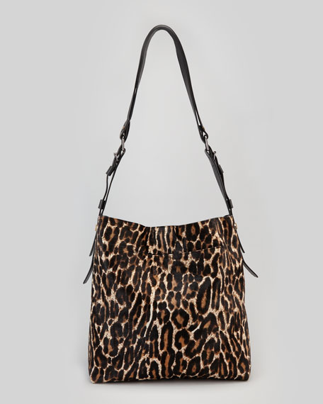 Leopard-Print Calf Hair Shopping Bag