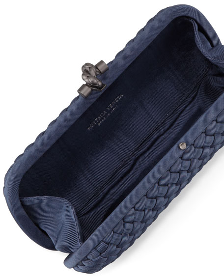 Woven Faille Large Knot Clutch Bag, Blue