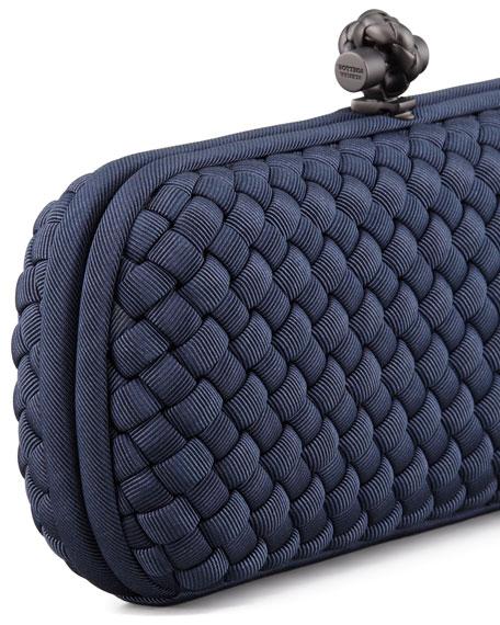 Woven Faille Large Knot Clutch Bag, Blue