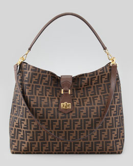 Fendi Zucca Large Hobo/Crossbody Bag, Brown