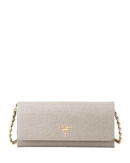 Saffiano Wallet on a Chain, Gray (Argilla)