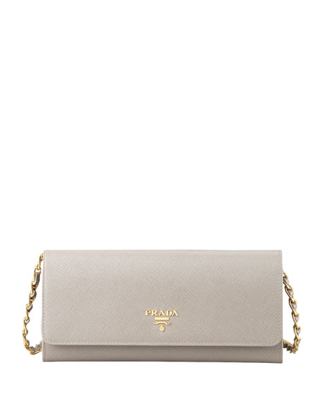 9871d08e6a7c inexpensive prada saffiano wallet on a chain gray argilla 97641 034cd