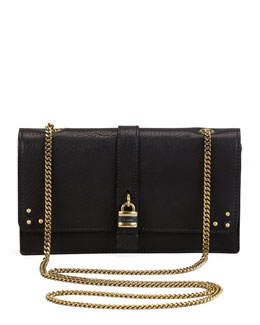Chloe Aurore Padlock Wallet on a Chain, Black