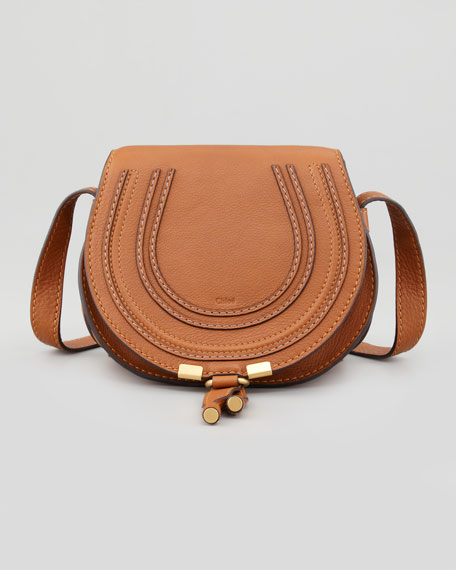 Marcie Small Leather Crossbody Bag, Tan
