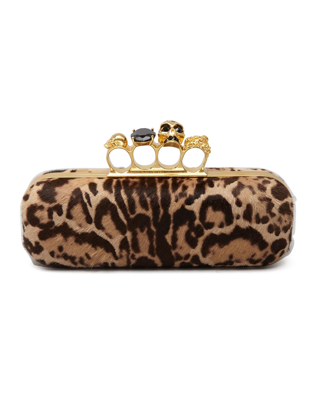 Alexander McQueen Leopard-Print Calf Hair Knuckle-Duster Box Clutch Bag