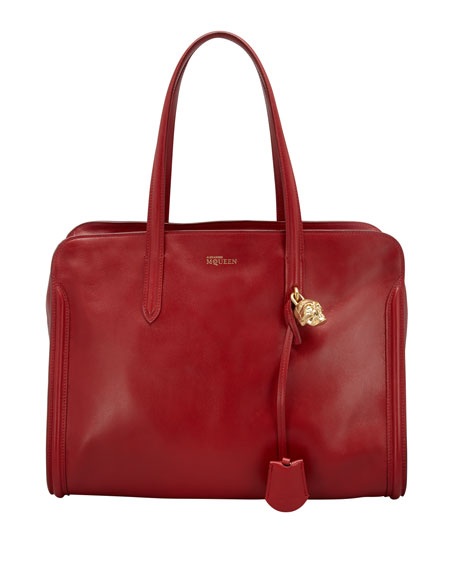 New Skull Padlock Zip-Around Tote Bag, Ruby