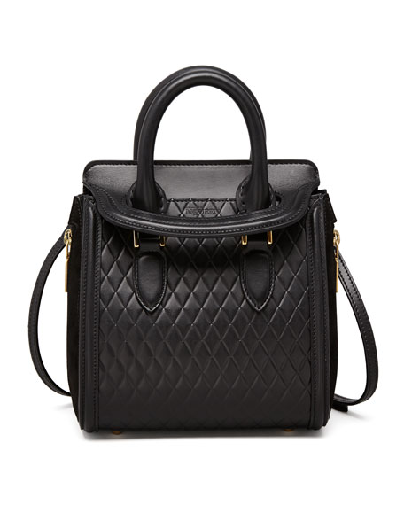 Heroine Mini Quilted Satchel Bag, Black