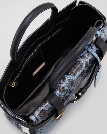 Python/Leather Boxer Tote Bag, Blue/Multi