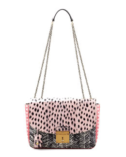 Marc Jacobs Polly Mini Snakeskin Shoulder Bag, Pink/Black/Multi