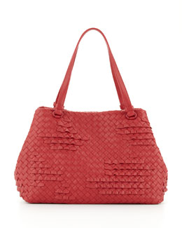 Bottega Veneta Intrecciato Ruffle Tote Bag, Red