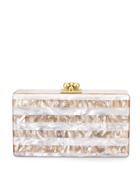 Jean Striped Box Clutch, Nude/White