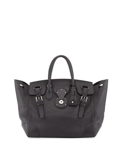 Soft Ricky 33 Soft Calfskin Satchel Bag, Black