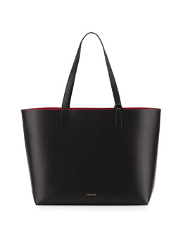 Mansur Gavriel Large Leather Tote Bag with Coated Interior, Black/Flamma Red