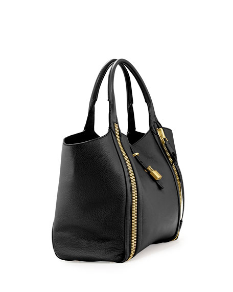 Amber Double-Zip Leather/Suede Tote Bag, Black