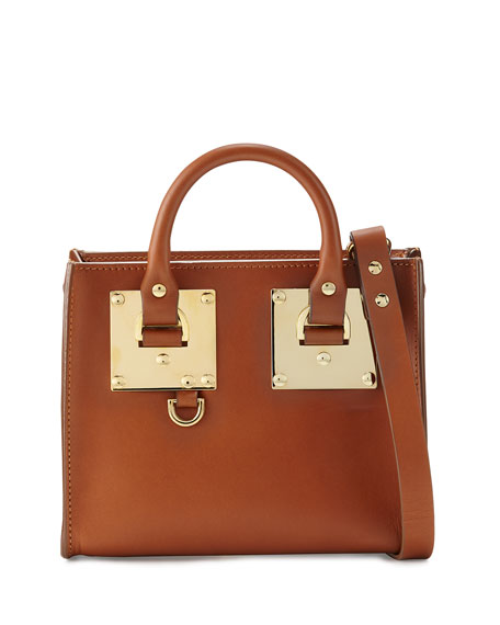 Buckled Leather Box Tote Bag, Tan