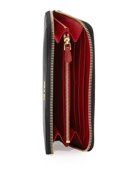 f570576b142e Prada Saffiano Double-Wall Wallet, Black/Red (Nero+Fuoco)