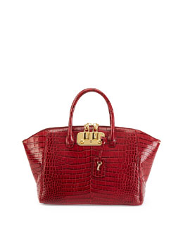 Brera 32 Crocodile Satchel Bag, Cranberry
