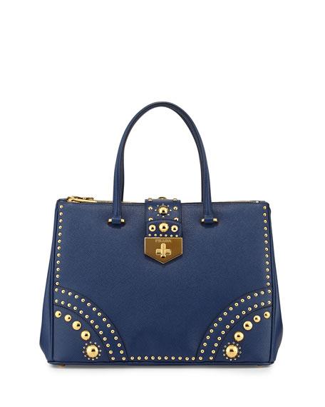 487a170bbc6c Prada Studded Saffiano Medium Turn-Lock Tote Bag