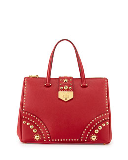 Prada Studded Saffiano Turn-Lock Tote Bag, Red (Fuoco)