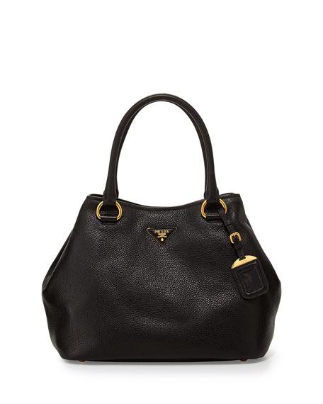 fae27087d256 Prada Vitello Daino Satchel Bag with Strap, Black (Nero)