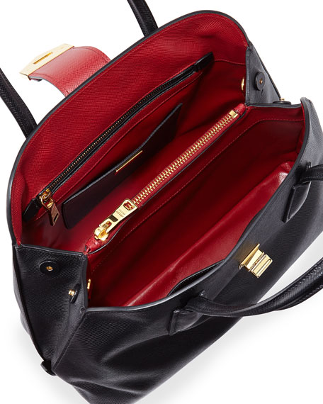 840b3eb6f648 Prada Saffiano Cuir Bicolor Dome Satchel Bag, Black/Red (Nero+Fuoco)