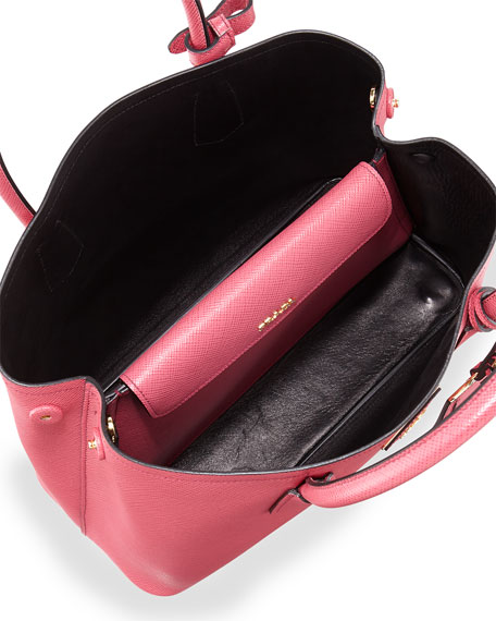 91b77076b72bc7 Prada Saffiano Cuir Small Double Bag, Pink (Peonia)