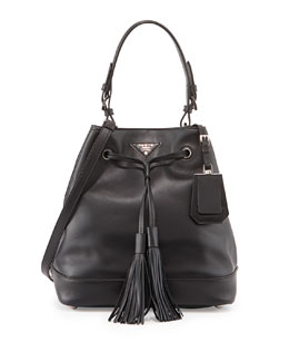 Prada City Calf Bucket Hobo Bag, Black (Nero)