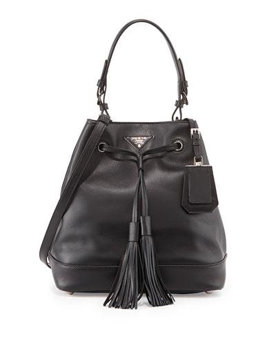 City Calf Bucket Bag, Black (Nero)
