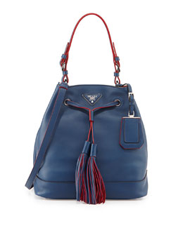 Prada City Calf Bucket Hobo Bag, Blue (Bluette)