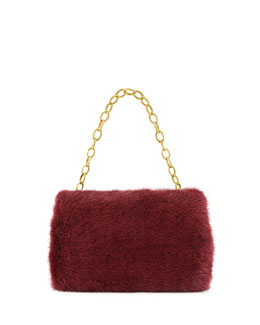 Nancy Gonzalez Small Framed Mink Fur Clutch Bag, Bordeaux